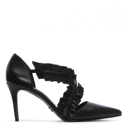 Bella Black Leather Ruffle Strap Heeled Pumps