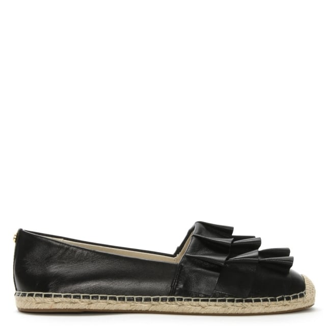 Bella Black Leather Ruffled Espadrilles