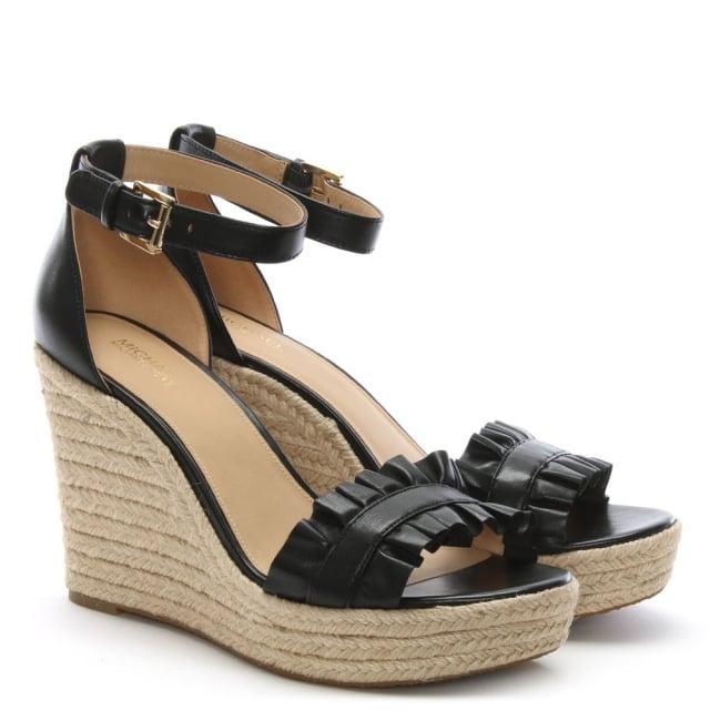 401fd37fc43 Michael Kors Bella Black Leather Ruffled Wedge Espadrilles
