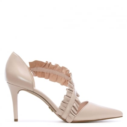 Bella Soft Pink Leather Ruffle Strap Heeled Pumps