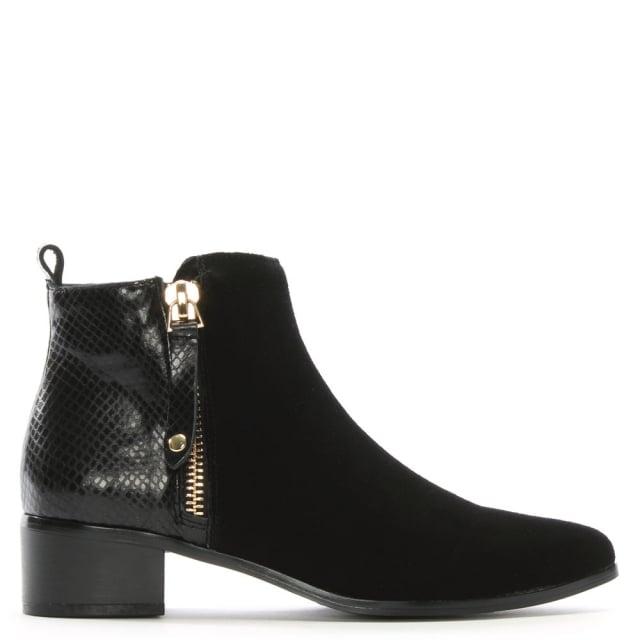 DF By Daniel Belle Black Suede Contrast Ankle Boots