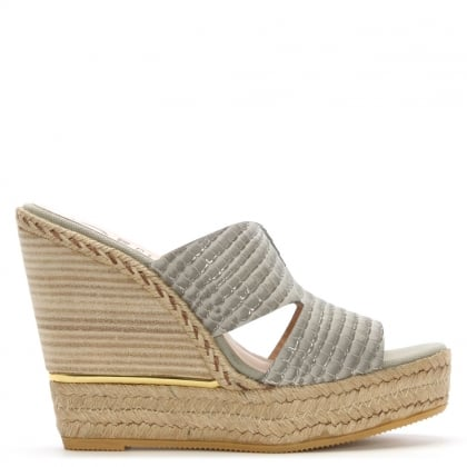 Kanna Belli Beige Reptile Leather Espadrille Wedge