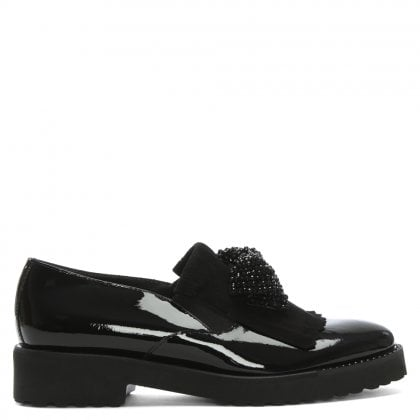 Benin Black Patent Embellished Fringe Loafers