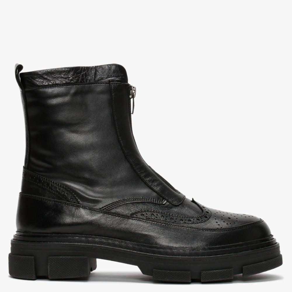 Daniel Bent Black Leather Brogue Ankle