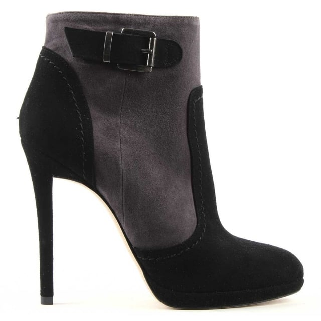 Berevo Grey & Black Suede Two Tone Ankle Boot