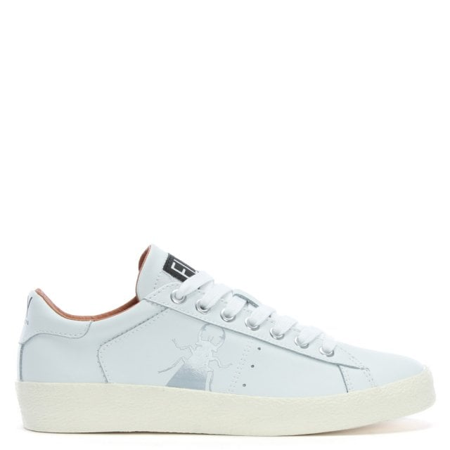Berg White Leather Lace Up Trainers