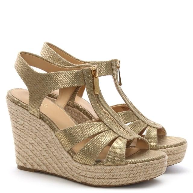 31117380af24 Michael Kors Berkley Pale Gold Leather Wedge Sandals