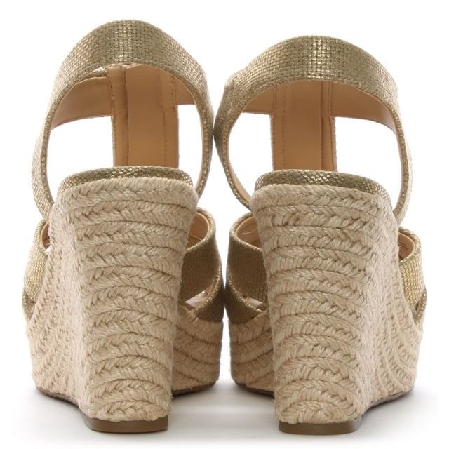 d59aa579505 Michael Kors Berkley Pale Gold Leather Wedge Sandals