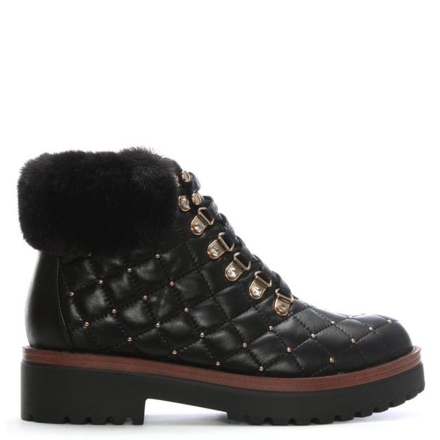 Berrina Black Leather Studded Hiker Boots