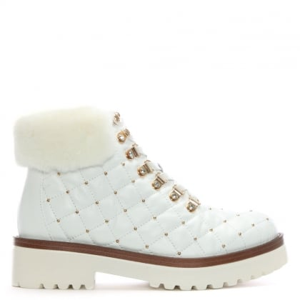 Berrina White Leather Studded Hiker Boots