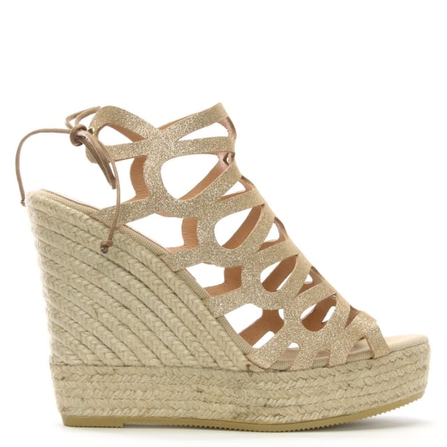 Berti Gold Metallic Leather Caged Wedge Espadrilles
