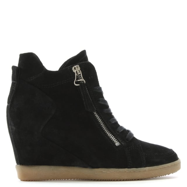 Bertine Black Suede Wedge High Top Trainers