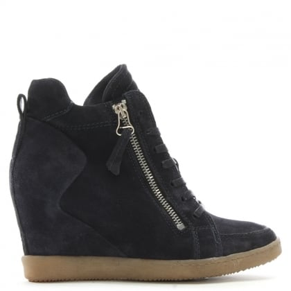 Bertine Navy Suede Wedge High Top Trainers