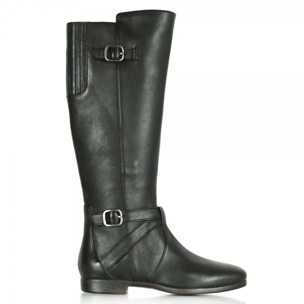 b687b765565 Beryl Black Leather Women s Flat Knee High Boot