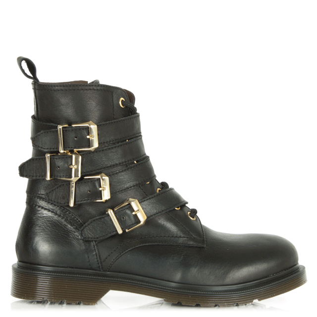 Besler Black Leather Lace Up Buckle Boots