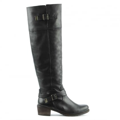 Bess Black Leather Stacked Heel Knee Boot