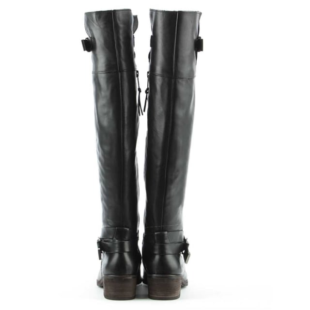 7759bc17d3d Bess Black Leather Stacked Heel Knee Boot