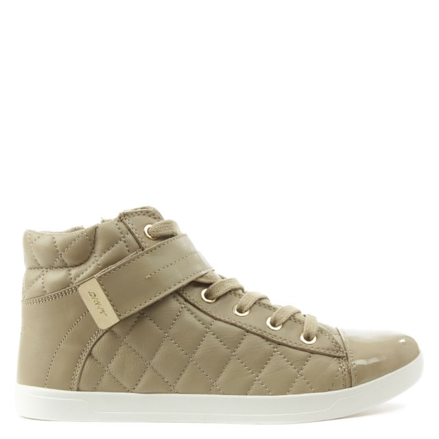 Betty Taupe Quilted Leather High Top Trainer