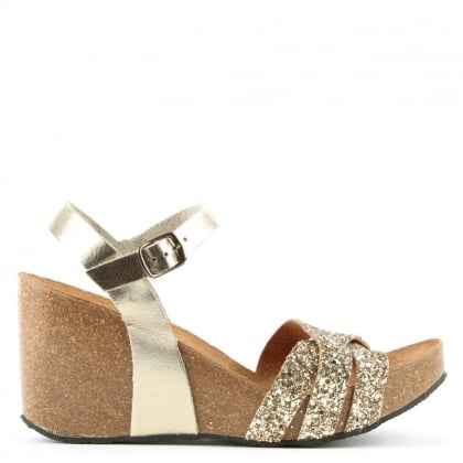 Beverlywood Gold Leather Glitter Wedge Sandal