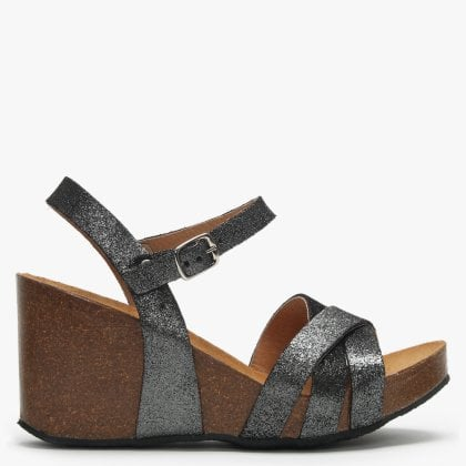 d5f68693f5a Beverlywood Pewter Metallic Leather Wedge Sandals