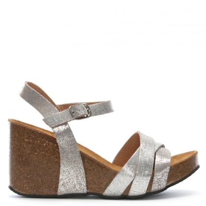 aa5a156b57c Beverlywood Silver Metallic Leather Wedge Sandals. Sale