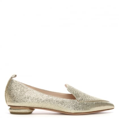 Beya Gold Metallic Leather Pointed Toe Loafers