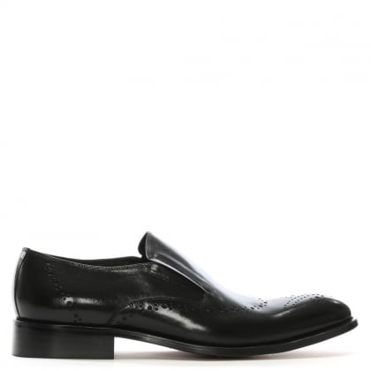 Bideford Black Leather Brogue Toe Loafers