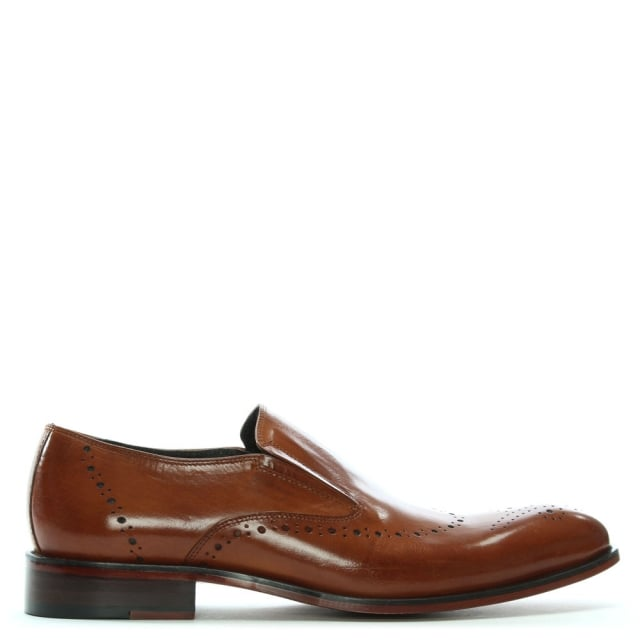 Bideford Tan Leather Brogue Toe Loafers