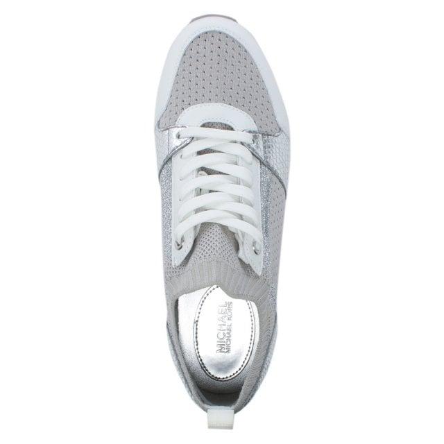 39b7f2790 Michael Kors Billie Aluminum Metallic Knitted Sock Trainers