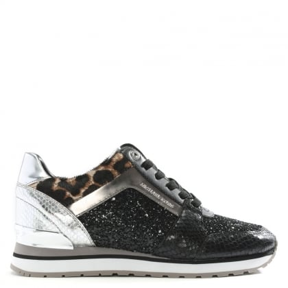 Billie Pewter Glitter & Leather Trainers