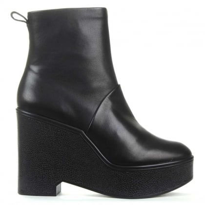 Bisout Black Leather Block Heel Ankle Boot