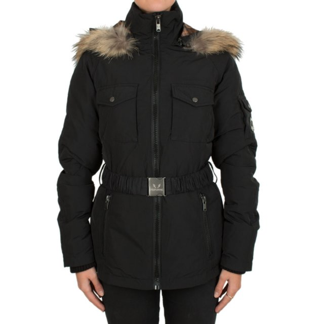 Black Belted Fur Trim Hooded Parka