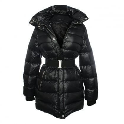 Black Belted Nylon Down Jacket