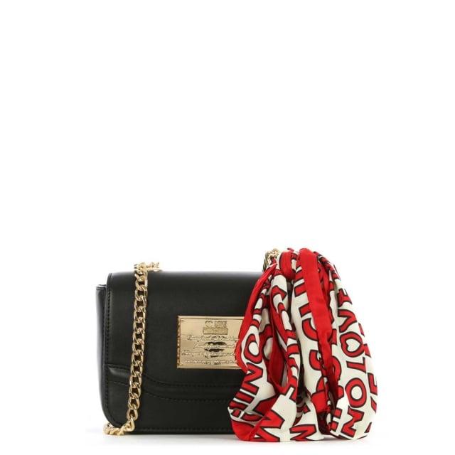 f9bde4e1c40b7 Love Moschino Black Chain Handle Scarf Cross-Body Bag