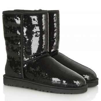 Black Classic Short Sparkle Women's Flat Boot