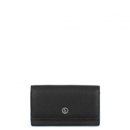 Black Contrast Trim Mini Flapover Shoulder Bag