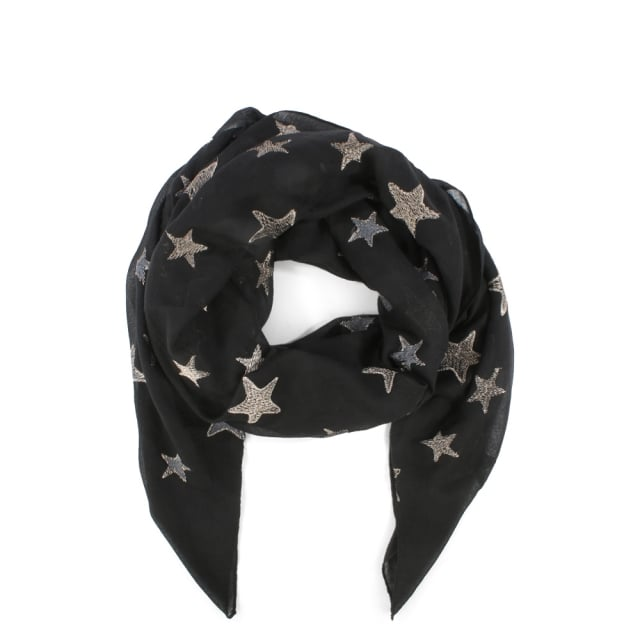 Black Cotton Star Scarf