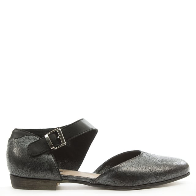 Black Cracked Leather Ankle Strap Shoe