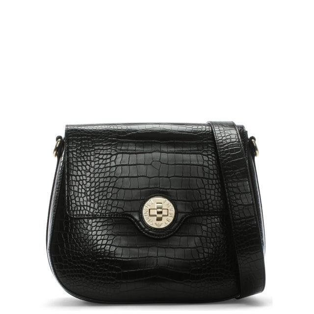 85b6844249 Black Croc Embossed Medium Cross-Body Bag