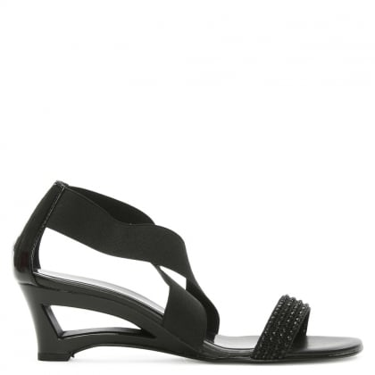 Black Cross Strap Embellished Sandal