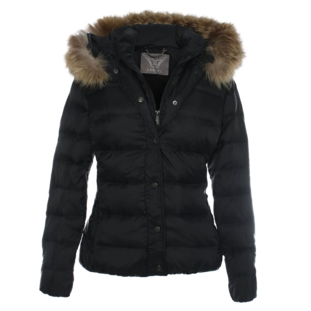 Black Double Fastening Fur Trim Hooded Jacket