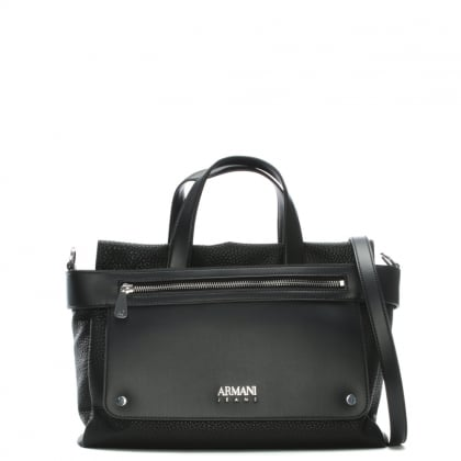 Black Eco Leather Pebbled Shopper Bag
