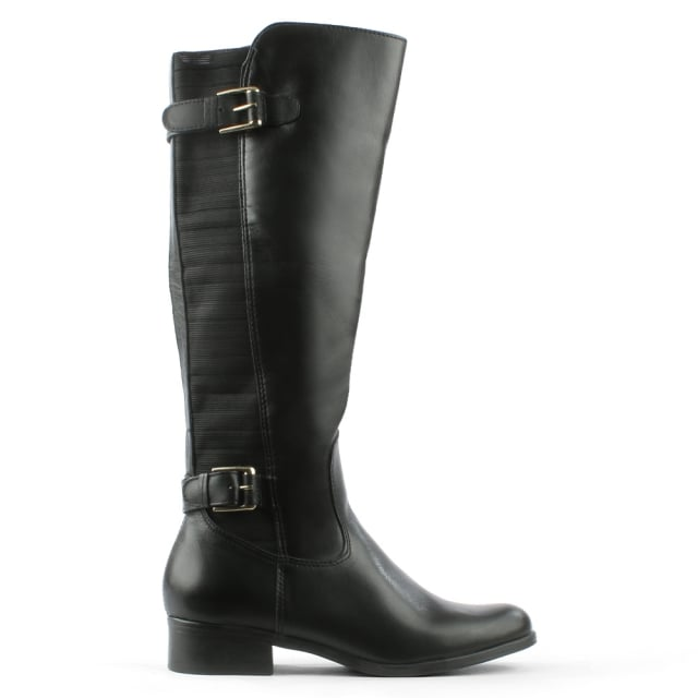Black Elasticated Panel Knee Boot