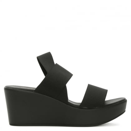 Rapisardi Black Elasticated Strap Wedge Sandal