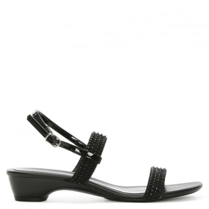 Black Embellished Sling Back Low Heel Sandal