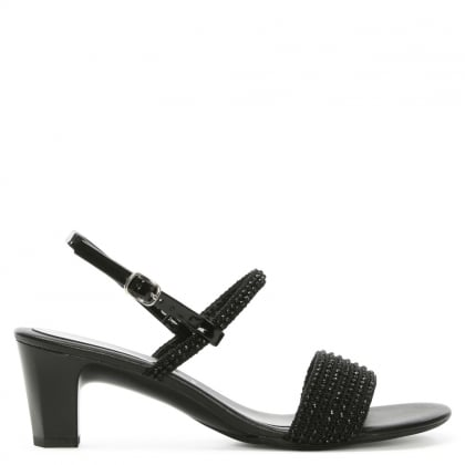 Black Embellished Sling Back Sandal
