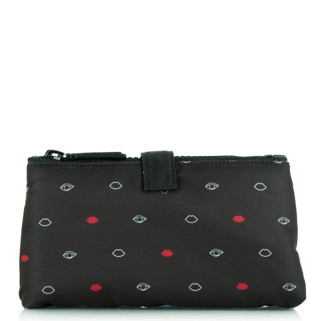 Black Fabric Double Top Zip Cosmetic Case