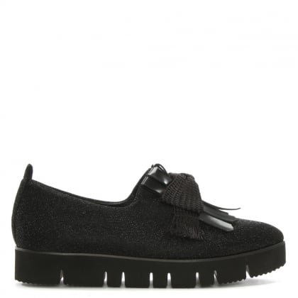 Black Fabric Fringed Flatform Loafers