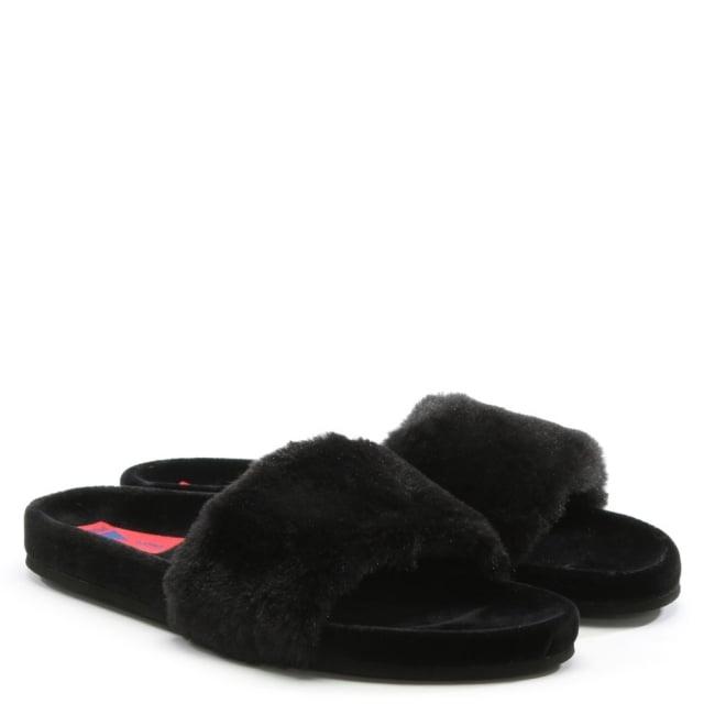 cefb1635bb9a Verbenas Black Suede Faux Fur Sliders
