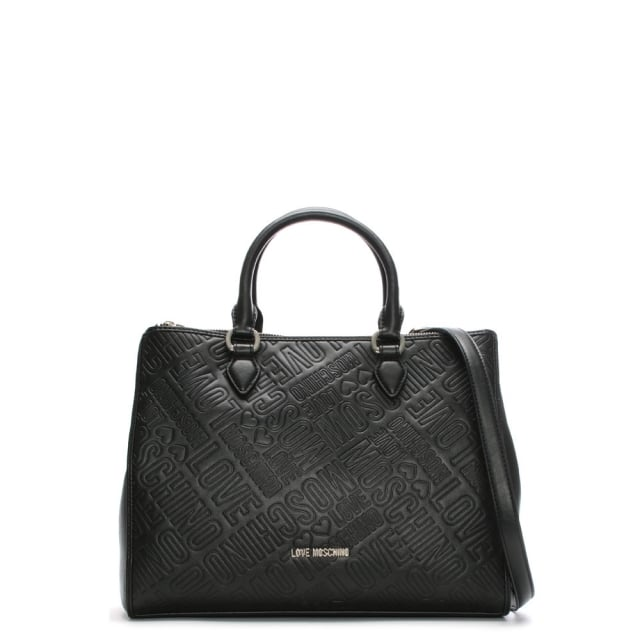 Black Faux Leather Embossed Logo Grab Bag